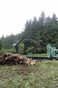 冬の準備のスタートは薪作りから 木材 届く